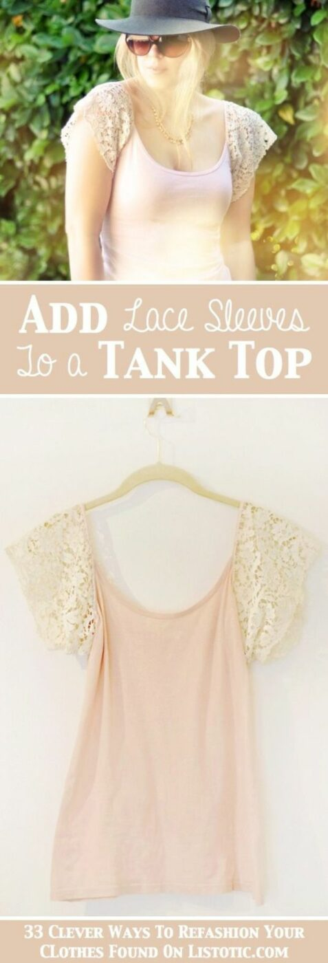 T-Shirt Makeovers - Easy DIY Lace Sleeve Tank Top - Fun Upcycle Ideas for Tees - How To Make Simple Awesome Summer Style Projects - Cute Sleeve and Neckline Ideas - Cheap and Easy Ways To Upcycle Tshirts for Fun Clothes and Fashion - Quick Projects for Teens and Teenagers on A Budget http://diyprojectsforteens.com/t-shirt-makeovers