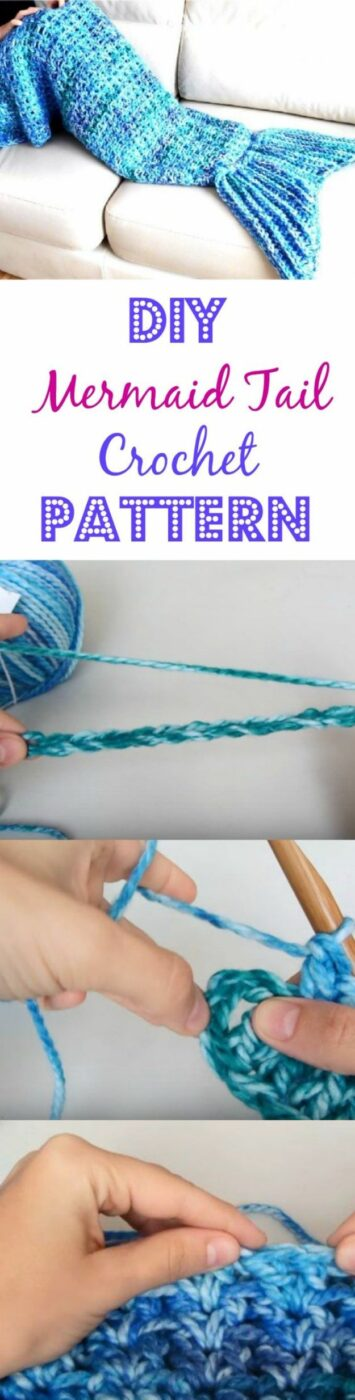 DIY Mermaid Crafts - Easy DIY Mermaid Tail Crochet Pattern - How To Make Room Decorations, Art Projects, Jewelry, and Makeup For Kids, Teens and Teenagers - Mermaid Costume Tutorials - Fun Clothes, Pillow Projects, Mermaid Tail Tutorial http://diyprojectsforteens.com/diy-mermaid-crafts