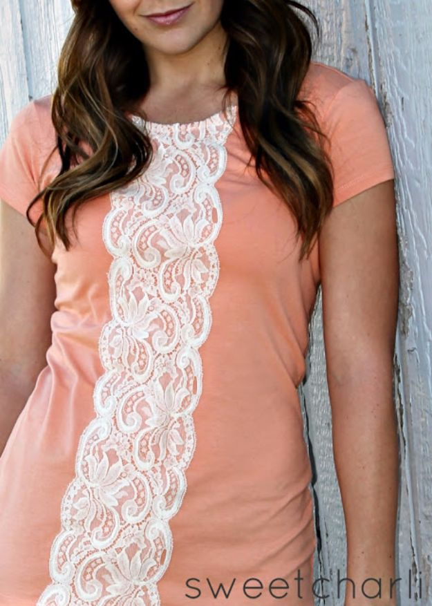 T-Shirt Makeovers - Easy Lace Shirt DIY - Fun Upcycle Ideas for Tees - How To Make Simple Awesome Summer Style Projects - Cute Sleeve and Neckline Ideas - Cheap and Easy Ways To Upcycle Tshirts for Fun Clothes and Fashion - Quick Projects for Teens and Teenagers on A Budget http://diyprojectsforteens.com/t-shirt-makeovers