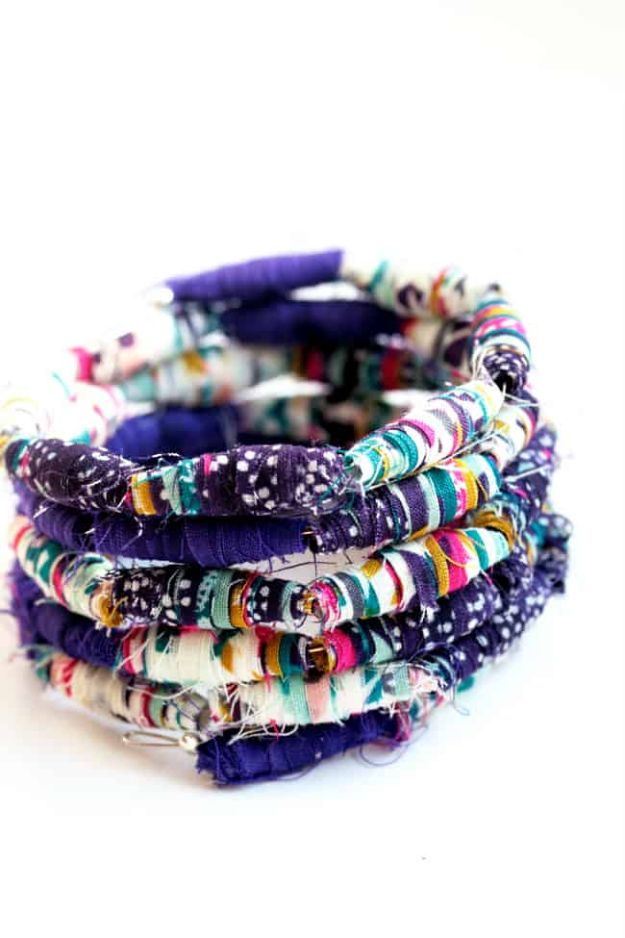 DIY Friendship Bracelets - Fabric Bead Bracelet - Woven, Beaded, Leather and String - Cheap Embroidery Thread Ideas - DIY gifts for Teens