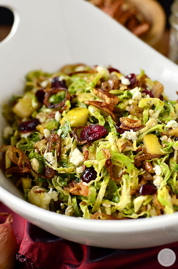 Fall Shredded Brussels Sprouts Salad | 25+ Brussels Sprout Recipe