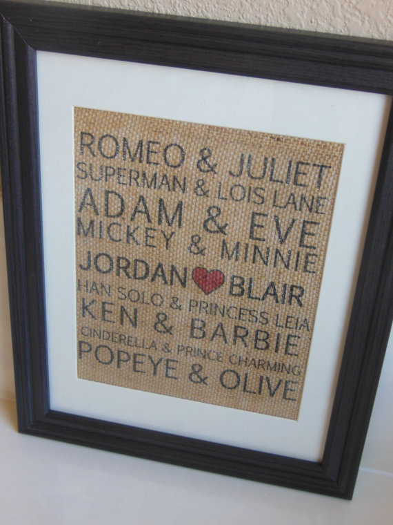 Famous Couples Burlap Print...Valentine's Day gift | 25+ sweet gifts for him for Valentine's Day