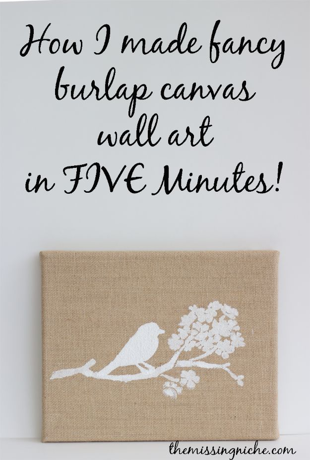 Cheap Wall Decor Ideas - Fancy Burlap Canvas Wall Art In Five Minutes - Cute and Easy Room Decor for Teens - Ideas for Teenager Bedroom Walls - Boys and Girls Room Canvas Wall Art and Decorating #teen #roomdecor #diydecor https://diyprojectsforteens.com/cheap-diy-wall-decor-ideas