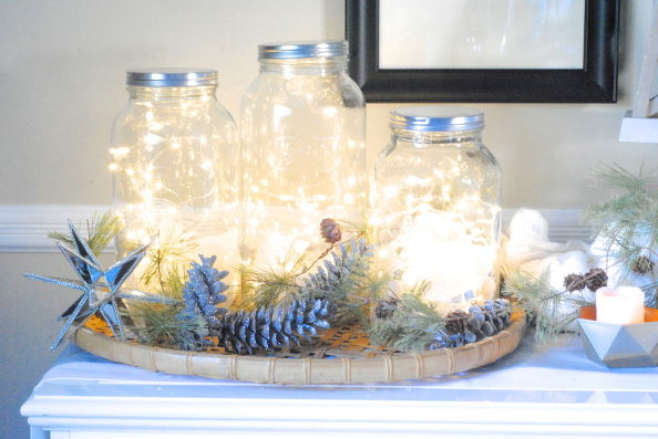 Fairy light jars | 25+ Winter decor crafts