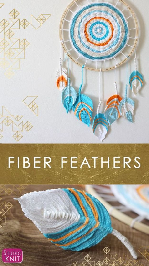 DIY Dream Catchers - Fiber Feather Dreamcatcher - How to Make a Dreamcatcher Step by Step Tutorial - Easy Ideas for Dream Catcher for Kids Room - Make a Mobile, Moon Designs, Pattern Ideas, Boho Dreamcatcher With Sticks, Cool Wall Hangings for Teen Rooms - Cheap Home Decor Ideas on A Budget http://diyprojectsforteens.com/diy-dreamcatchers