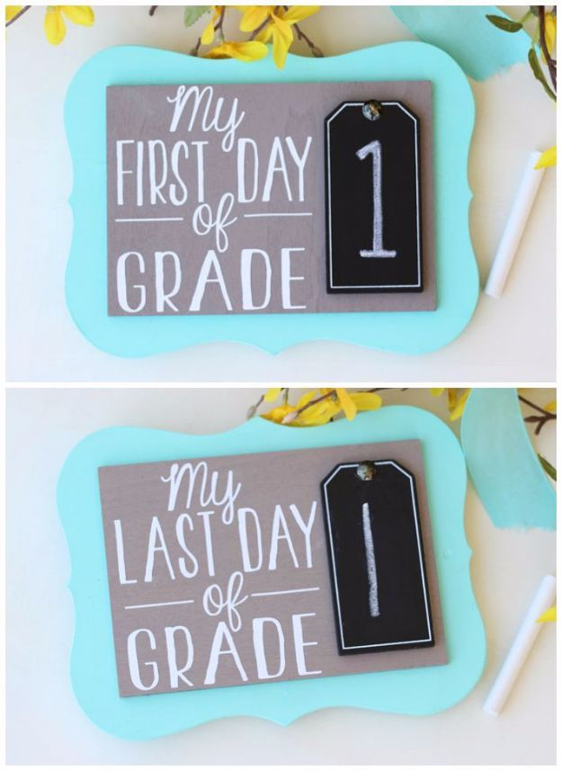 DIY School Supplies - First Day of School Photo Prop - Easy Crafts and Do It Yourself Ideas for Back To School - Pencils, Notebooks, Backpacks and Fun Gear for Going Back To Class - Creative DIY Projects for Cheap School Supplies - Cute Crafts for Teens and Kids http://diyprojectsforteens.com/diy-back-to-school-supplies