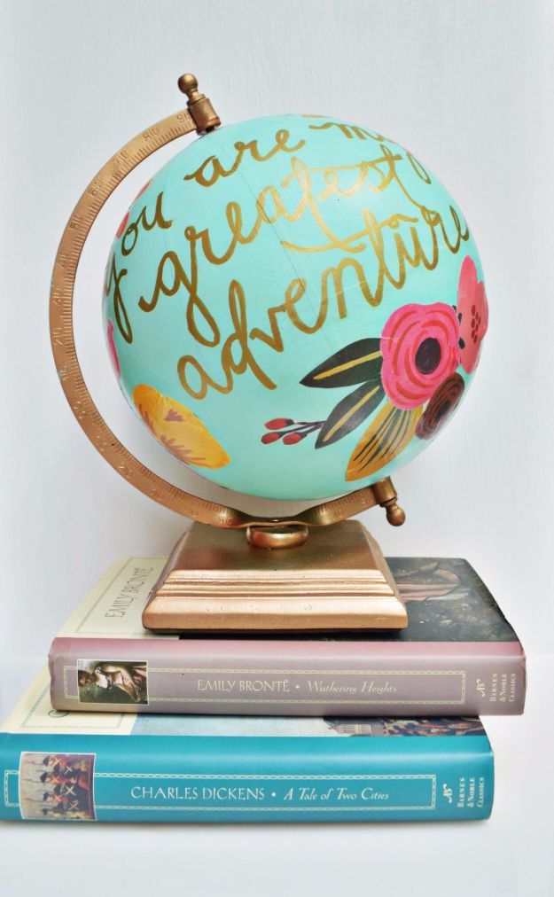 Mod Podge Crafts - Floral Quote Globe - DIY Modge Podge Ideas On Wood, Glass, Canvases, Fabric, Paper and Mason Jars - How To Make Pictures, Home Decor, Easy Craft Ideas and DIY Wall Art for Beginners - Cute, Cheap Crafty Homemade Gifts for Christmas and Birthday Presents http://diyjoy.com/mod-podge-crafts