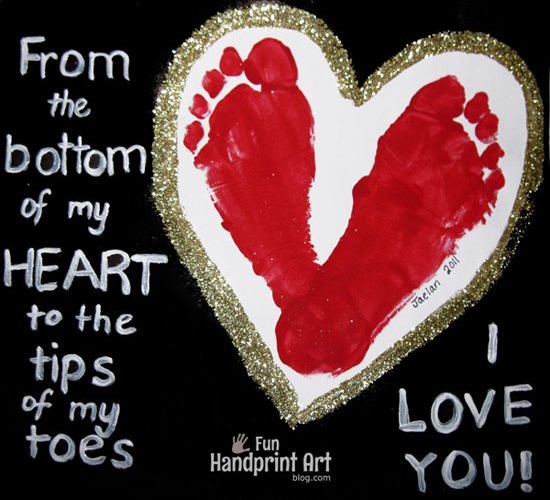 Footprint Heart | 25+ Valentine Crafts for Kids