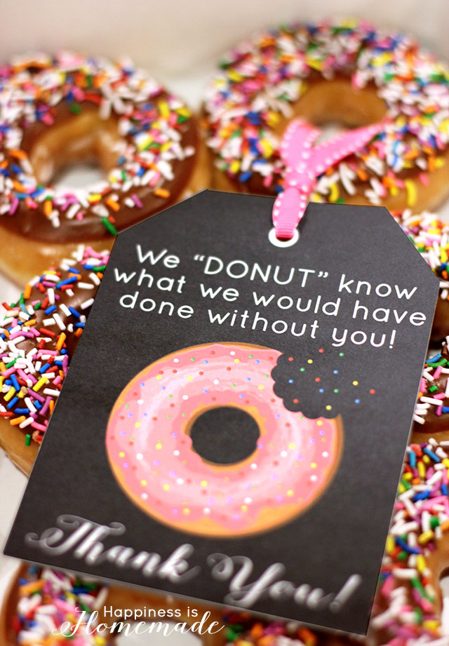 Free Printable Donut Thank You Gift Tags | 25+ teacher appreciation week ideas