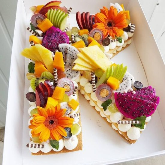 Fruit Letter Cookie Cake | 20+ Layered Cookie Cakes
