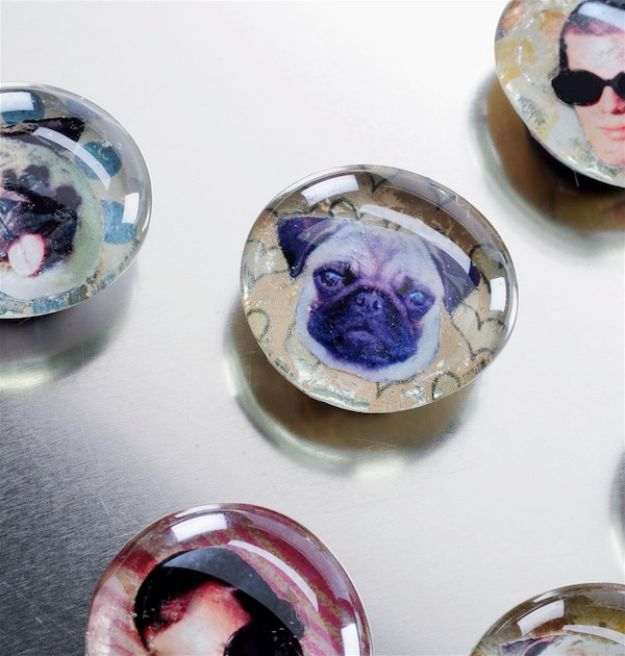 Mod Podge Crafts - Fun Face Glass Magnets - DIY Modge Podge Ideas On Wood, Glass, Canvases, Fabric, Paper and Mason Jars - How To Make Pictures, Home Decor, Easy Craft Ideas and DIY Wall Art for Beginners - Cute, Cheap Crafty Homemade Gifts for Christmas and Birthday Presents http://diyjoy.com/mod-podge-crafts