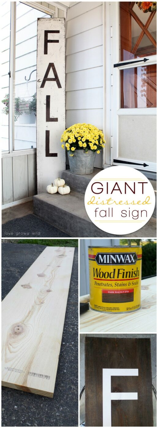 Giant Distressed Fall Sign 20 Amazing DIY Fall Porch Decor Ideas