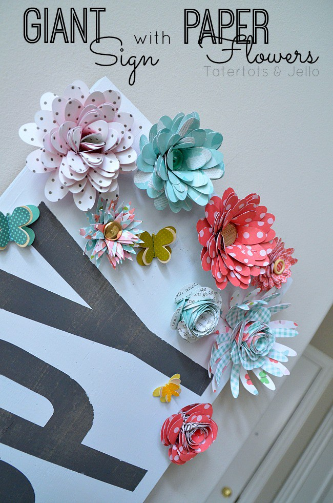 Giant Spring Sign with Paper Flowers