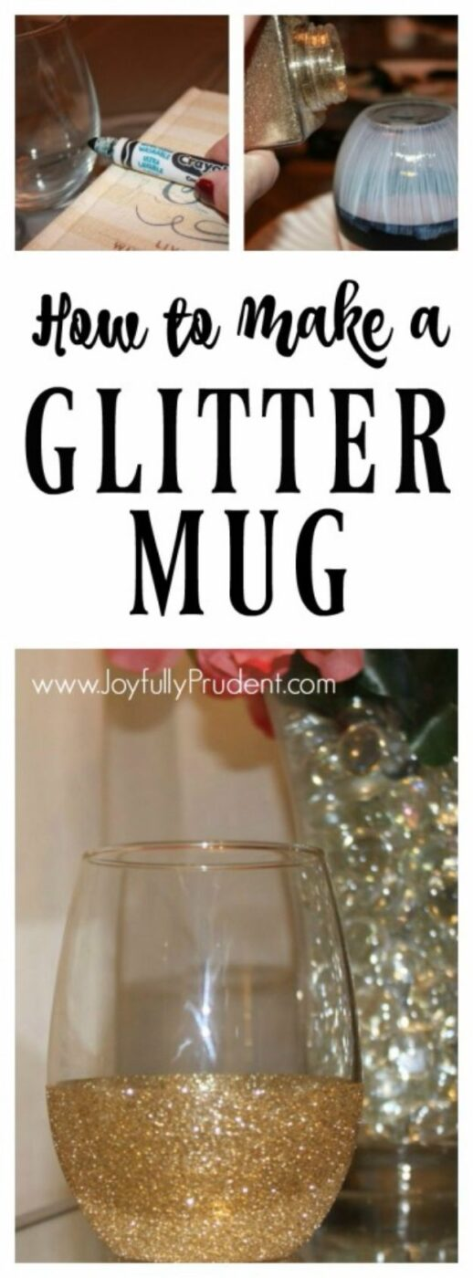 Mod Podge Crafts - Glitter Dipped Mug And Wine Glass - DIY Modge Podge Ideas On Wood, Glass, Canvases, Fabric, Paper and Mason Jars - How To Make Pictures, Home Decor, Easy Craft Ideas and DIY Wall Art for Beginners - Cute, Cheap Crafty Homemade Gifts for Christmas and Birthday Presents http://diyjoy.com/mod-podge-crafts