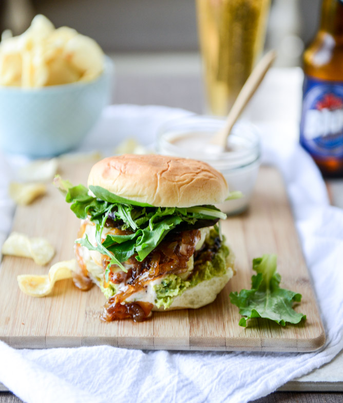 Goat cheese guac burgers with cheddar and caramelized onions | 25+ Burger recipes