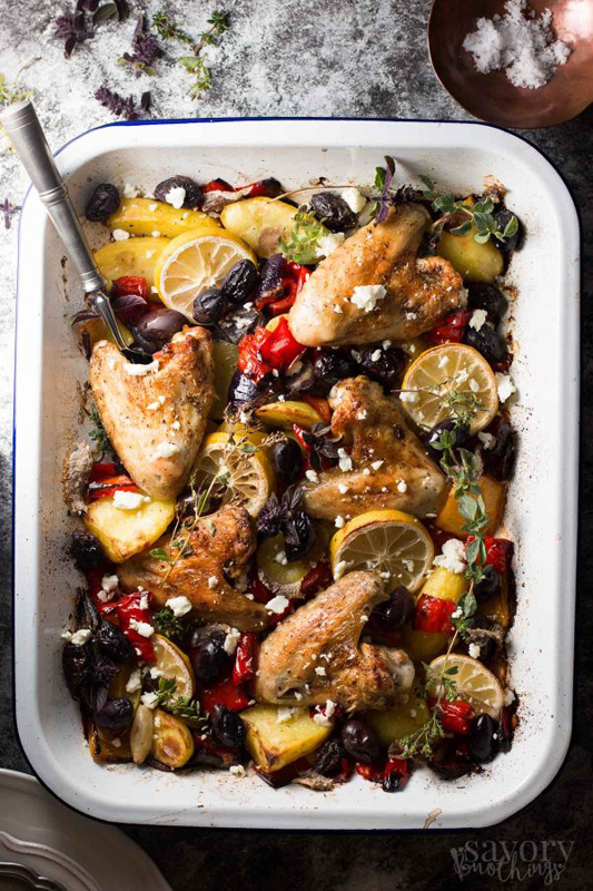 Greek Style Baked Chicken | 25+ Sheet Pan Dinner Recipes