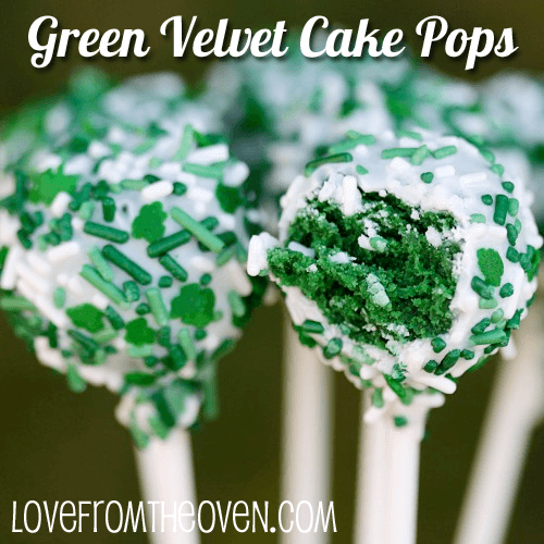 Green Velvet Cake Pops | Top 50 St. Patrick's Day Green Food - have fun with St. Patrick's Day and surprise your family and friends with these fun, festive green recipes!