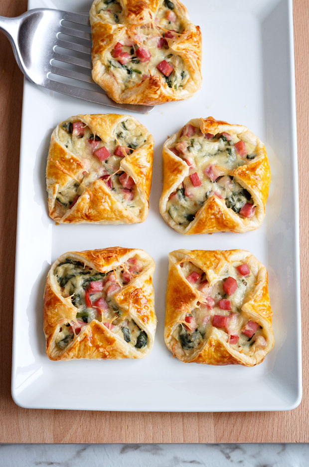 Ham and Cheese Spinach Puffs | 25+ Puff Pastry Dough Recipes