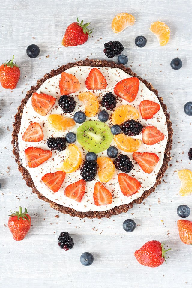 Healthy No Bake Chocolate Fruit Pizza | 25+ No Bake Desserts