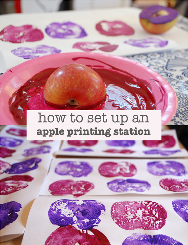 How to set up an apple printing station - 25+apple projects and kids crafts - NoBiggie.net