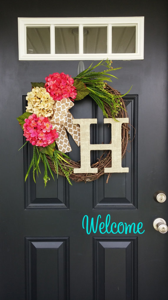 Hydrangea Monogram Wreath | 25+ Spring wreaths
