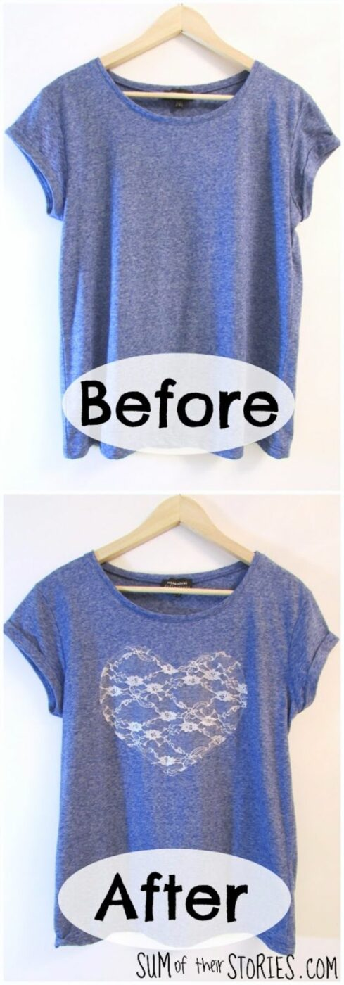T-Shirt Makeovers - Lace Heart T-Shirt Refashion - Fun Upcycle Ideas for Tees - How To Make Simple Awesome Summer Style Projects - Cute Sleeve and Neckline Ideas - Cheap and Easy Ways To Upcycle Tshirts for Fun Clothes and Fashion - Quick Projects for Teens and Teenagers on A Budget http://diyprojectsforteens.com/t-shirt-makeovers