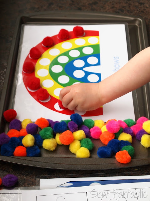 Magnetic Rainbow Pom-pom activity | 25+ Rainbow crafts, food, and more