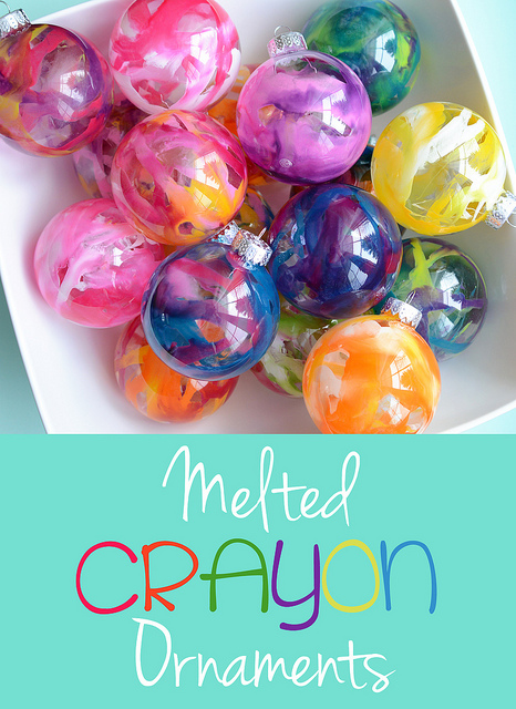 Melted crayon ornaments | 25+ ornaments kids can make