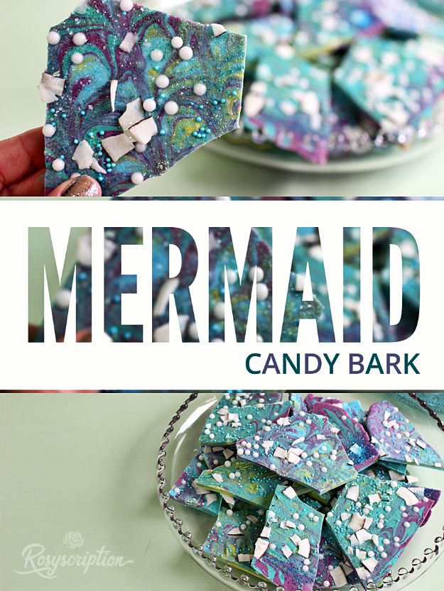 DIY Mermaid Crafts - Mermaid Candy Bark - How To Make Room Decorations, Art Projects, Jewelry, and Makeup For Kids, Teens and Teenagers - Mermaid Costume Tutorials - Fun Clothes, Pillow Projects, Mermaid Tail Tutorial http://diyprojectsforteens.com/diy-mermaid-crafts