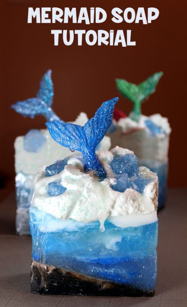 Soap Recipes DIY - Mermaid Soap - DIY Soap Recipe Ideas - Best Soap Tutorials for Soap Making Without Lye - Easy Cold Process Melt and Pour Tips for Beginners - Crockpot, Essential Oils, Homemade Natural Soaps and Products - Creative Crafts and DIY for Teens, Kids and Adults http://diyprojectsforteens.com/cool-soap-recipes