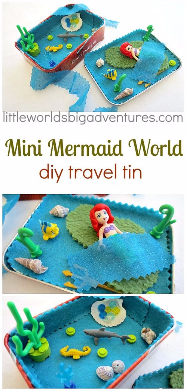DIY Mermaid Crafts - Mini Mermaid Travel Tin - How To Make Room Decorations, Art Projects, Jewelry, and Makeup For Kids, Teens and Teenagers - Mermaid Costume Tutorials - Fun Clothes, Pillow Projects, Mermaid Tail Tutorial http://diyprojectsforteens.com/diy-mermaid-crafts