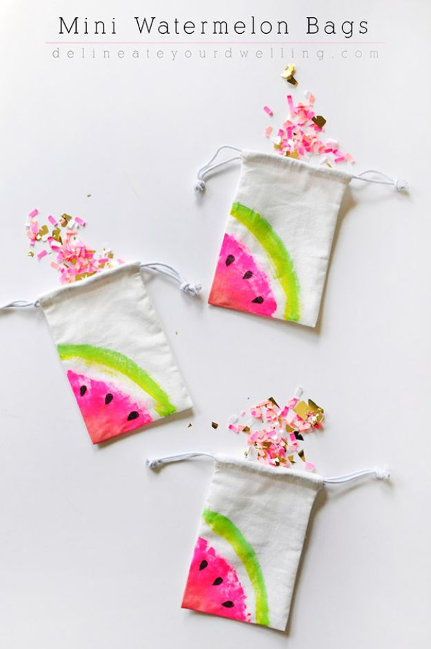 Watermelon Crafts - Mini Watermelon Bags - Easy DIY Ideas With Watermelons - Cute Craft Projects That Make Cool DIY Gifts - Wall Decor, Bedroom Art, Jewelry Idea