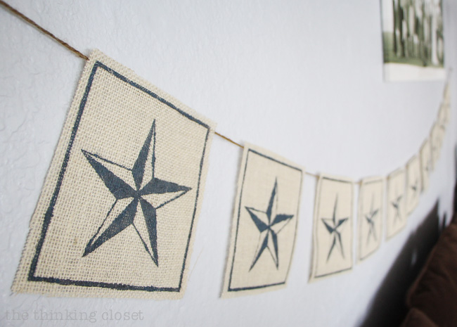 Nautical Star Burlap Banner: love that this can be used for everyday decor as well as for the Fourth of July! Also, is it not amazing that you can cut stencil material with a Silhouette machine?! Game-changer!
