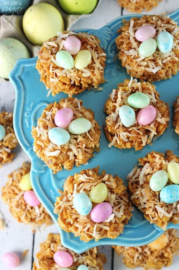 No-Bake Caramel Coconut Nest Cookies l+ 25 Easter Crafts for Kids - Fun-filled Easter activities for you and your child to do together!