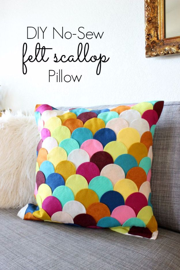 DIY Mermaid Crafts - No-Sew DIY Felt Scalloped Pillow - How To Make Room Decorations, Art Projects, Jewelry, and Makeup For Kids, Teens and Teenagers - Mermaid Costume Tutorials - Fun Clothes, Pillow Projects, Mermaid Tail Tutorial http://diyprojectsforteens.com/diy-mermaid-crafts