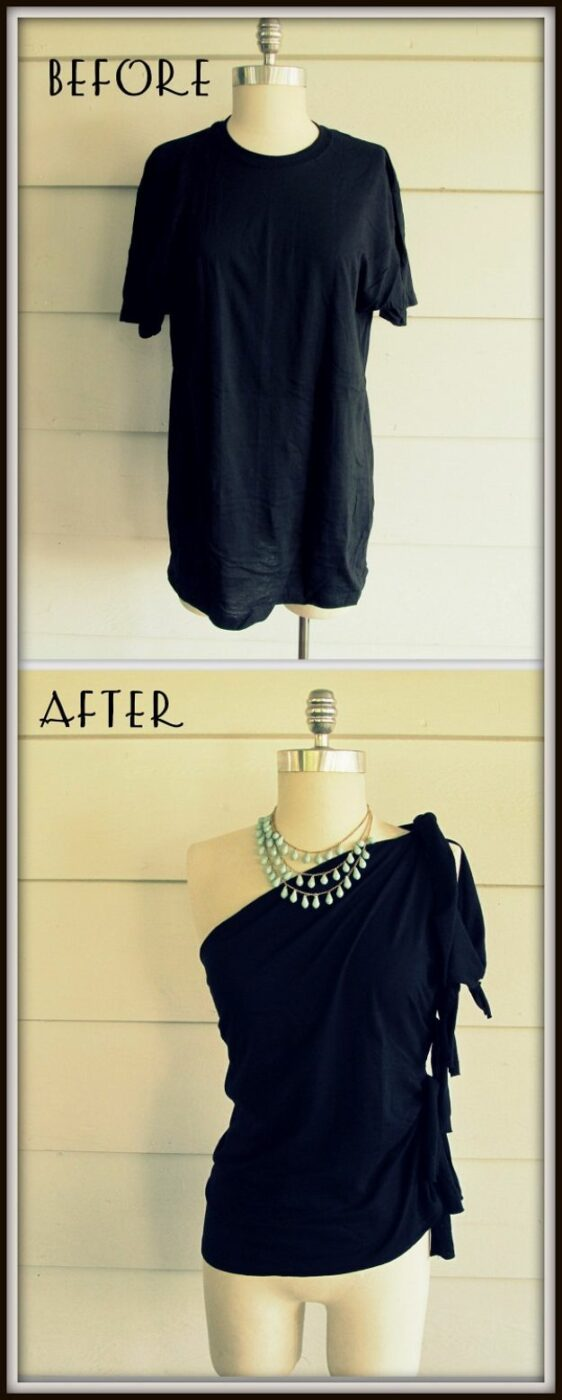 T-Shirt Makeovers - No-Sew One Shoulder Shirt DIY - Fun Upcycle Ideas for Tees - How To Make Simple Awesome Summer Style Projects - Cute Sleeve and Neckline Ideas - Cheap and Easy Ways To Upcycle Tshirts for Fun Clothes and Fashion - Quick Projects for Teens and Teenagers on A Budget http://diyprojectsforteens.com/t-shirt-makeovers