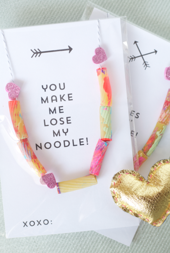 Noodle Necklace | 25+ Valentine Crafts for Kids