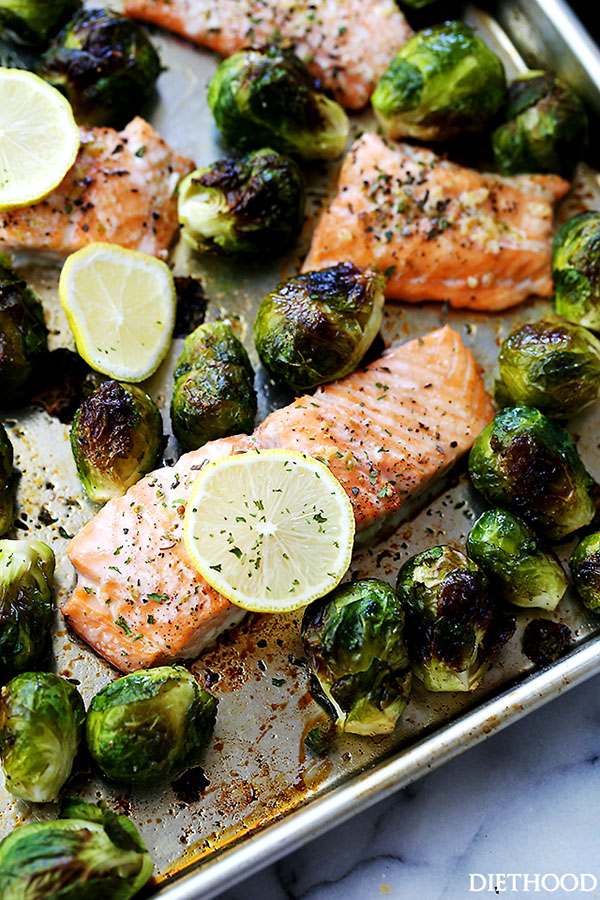 One Sheet Pan Garlic Roasted Salmon With Brussel Sprouts | 25+ Brussels Sprout Recipes