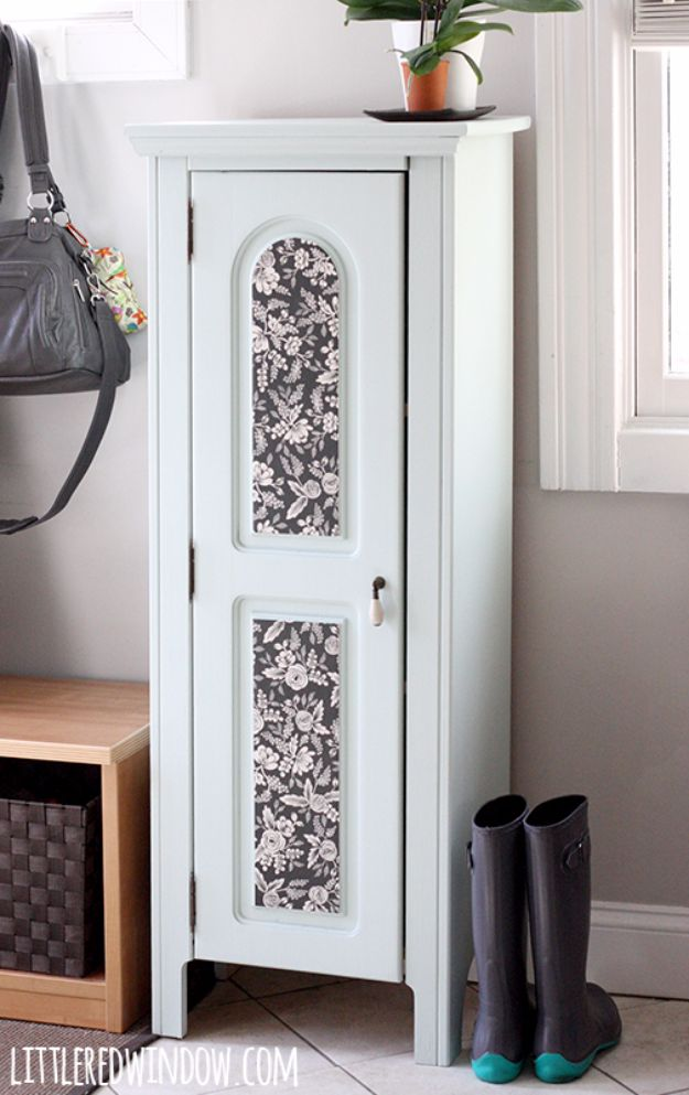 Mod Podge Crafts - Painted Entryway Wood Cabinet - DIY Modge Podge Ideas On Wood, Glass, Canvases, Fabric, Paper and Mason Jars - How To Make Pictures, Home Decor, Easy Craft Ideas and DIY Wall Art for Beginners - Cute, Cheap Crafty Homemade Gifts for Christmas and Birthday Presents http://diyjoy.com/mod-podge-crafts