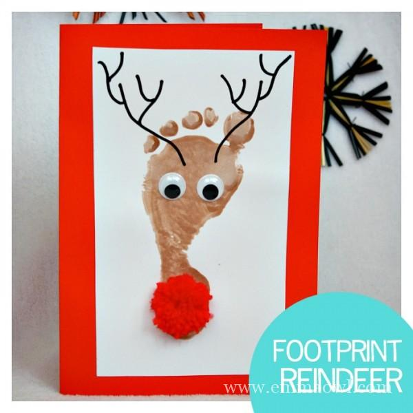 Painted reindeer footprint | 25+ Rudolph crafts, gifts and treats | NoBiggie.net