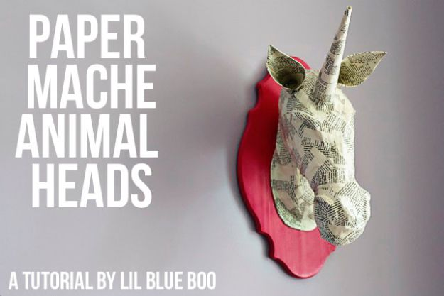 Creative Paper Mache Crafts - Paper Mache Animal Heads - Easy DIY Ideas for Making Paper Mache Projects - Cool Newspaper and Paper Bag Craft Tips - Recipe for for How To Make Homemade Paper Mashe paste - Halloween Masks and Costume Tutorials - Sculpture, Animals and Ideas for Kids http://diyprojectsforteens.com/paper-mache-crafts