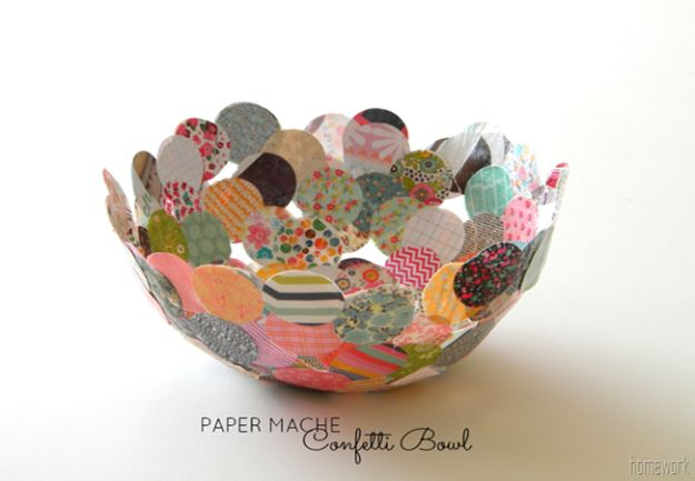 Creative Paper Mache Crafts - Paper Mache Confetti Bowl - Easy DIY Ideas for Making Paper Mache Projects - Cool Newspaper and Paper Bag Craft Tips - Recipe for for How To Make Homemade Paper Mashe paste - Halloween Masks and Costume Tutorials - Sculpture, Animals and Ideas for Kids http://diyprojectsforteens.com/paper-mache-crafts