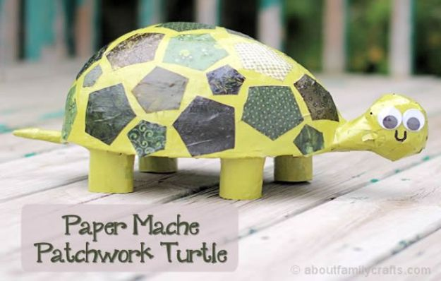 Creative Paper Mache Crafts - Paper Mache Patchwork Turtle - Easy DIY Ideas for Making Paper Mache Projects - Cool Newspaper and Paper Bag Craft Tips - Recipe for for How To Make Homemade Paper Mashe paste - Halloween Masks and Costume Tutorials - Sculpture, Animals and Ideas for Kids http://diyprojectsforteens.com/paper-mache-crafts