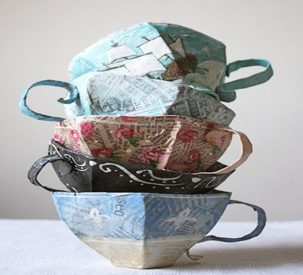 Creative Paper Mache Crafts - Paper Mache Teacup Pattern - Easy DIY Ideas for Making Paper Mache Projects - Cool Newspaper and Paper Bag Craft Tips - Recipe for for How To Make Homemade Paper Mashe paste - Halloween Masks and Costume Tutorials - Sculpture, Animals and Ideas for Kids http://diyprojectsforteens.com/paper-mache-crafts