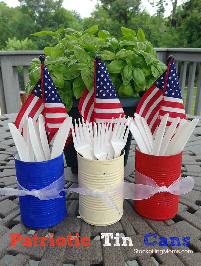 Patriotic Tin Cans | 25+ 4th of July Party Ideas