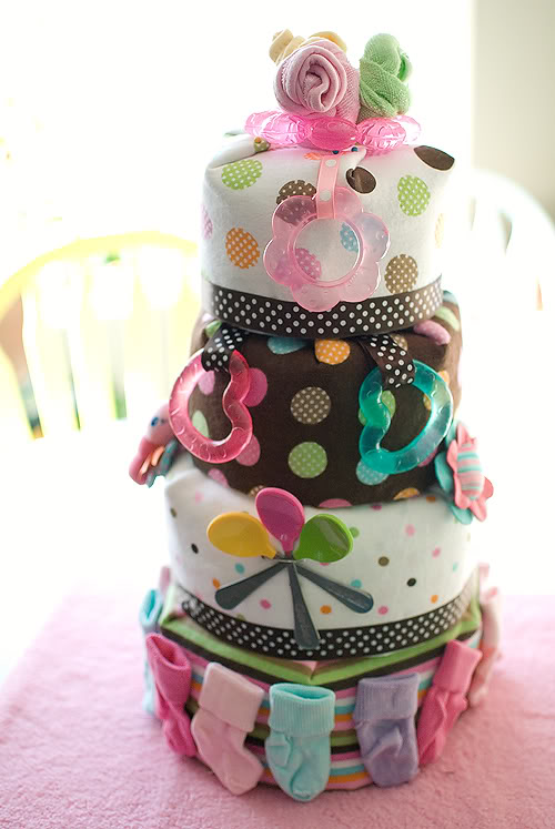 Polka Dot Pattern Diaper Cake