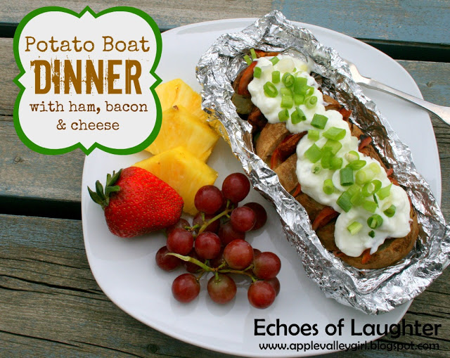 Potato Boat Dinner with ham, bacon and cheese | 25+ easy camping recipes