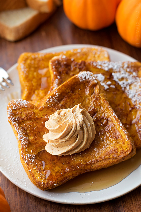 Pumpkin French Toast with Whipped Pumpkin Butter | 25+ More Sweet Pumpkin Recipes