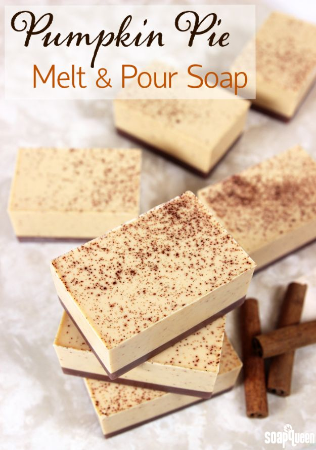 Soap Recipes DIY - Pumpkin Pie Melt and Pour Soap - DIY Soap Recipe Ideas - Best Soap Tutorials for Soap Making Without Lye - Easy Cold Process Melt and Pour Tips for Beginners - Crockpot, Essential Oils, Homemade Natural Soaps and Products - Creative Crafts and DIY for Teens, Kids and Adults http://diyprojectsforteens.com/cool-soap-recipes