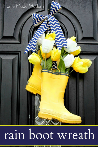 Rain Boot Wreath | 25+ Spring wreaths